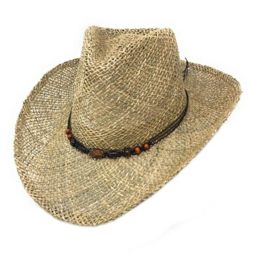 Seagrass  Cowboy Hat with Bead Band